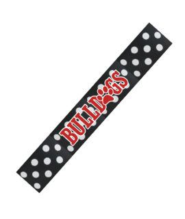 Headband Black White Polka Dot BULLDOG Paw