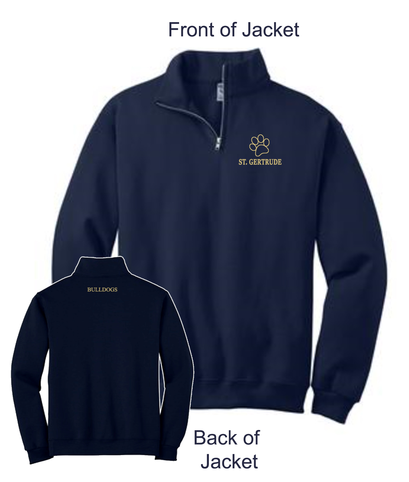 Quarter Zip Bulldogs Paw Jacket Embroidered_Paw