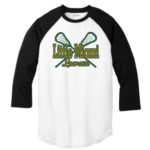 LM Lacrosse 3_4 Sleeve ST205 White Black Tee Green Yellow GLITTER