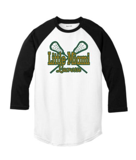 LM Lacrosse 3_4 Sleeve ST205 White Black Tee Green Yellow GLITTER