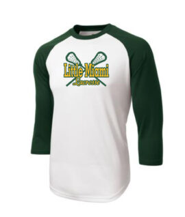 LM Lacrosse 3_4 Sleeve ST205 White Green Tee Green Yellow