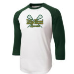 LM Lacrosse 3_4 Sleeve ST205 White Green Tee Green Yellow GLITTER