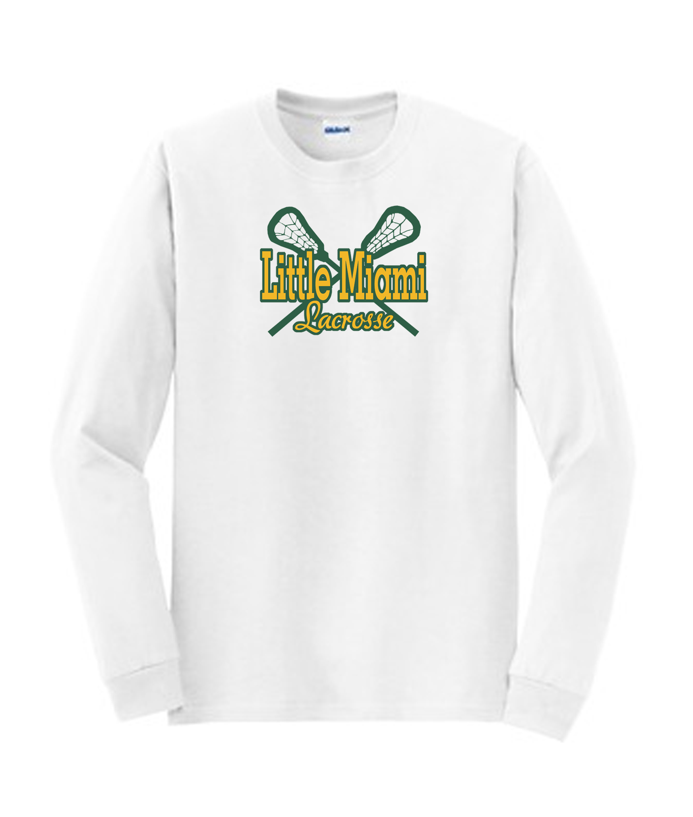 LM Lacrosse Long Sleeve White Tee Green Yellow