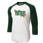 LM Panther 3_4 Sleeve ST205 White Green Tee Green Yellow GLITTER