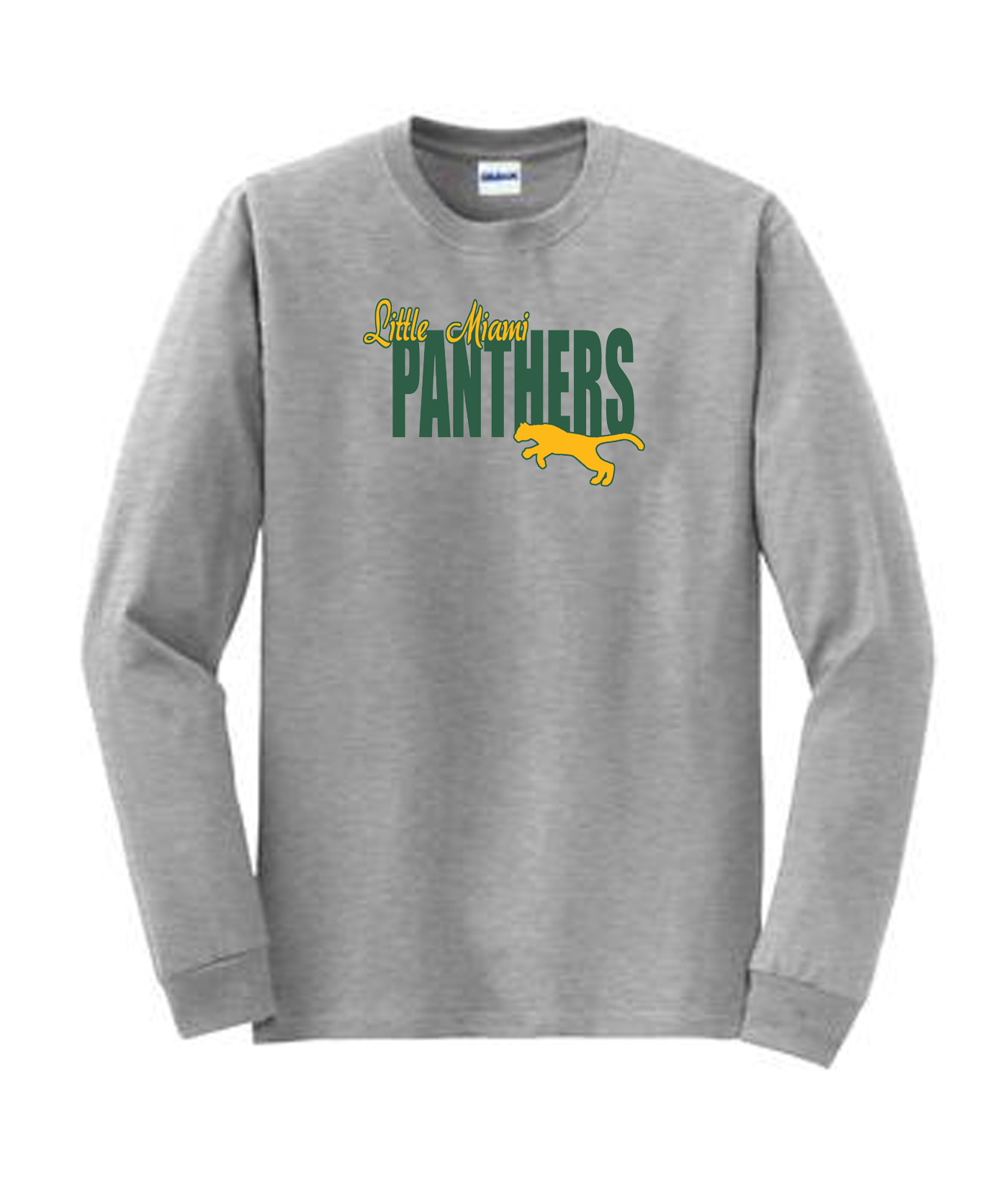 LM Panther Long Sleeve Grey Tee Green Yellow