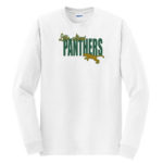LM Panther Long Sleeve White Tee Green Yellow GLITTER