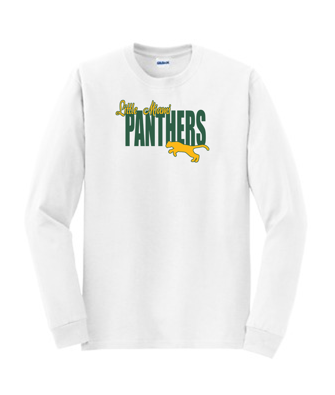 LM Panther Long Sleeve White Tee Green Yellow