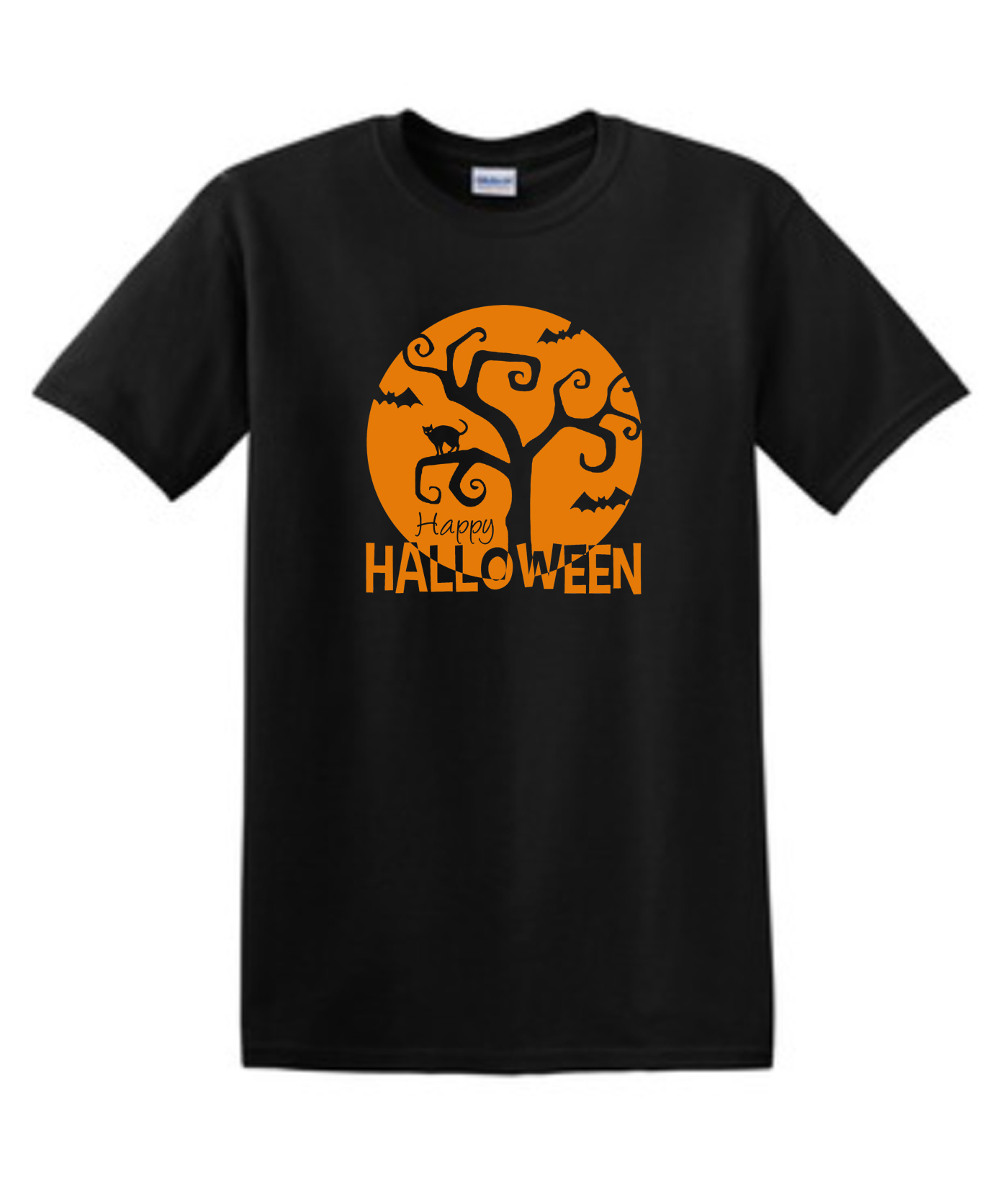 Orange Halloween Moon Black Tee