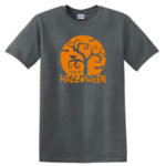 Orange Halloween Moon Grey Tee