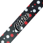 Black with Red White Dots Cursive