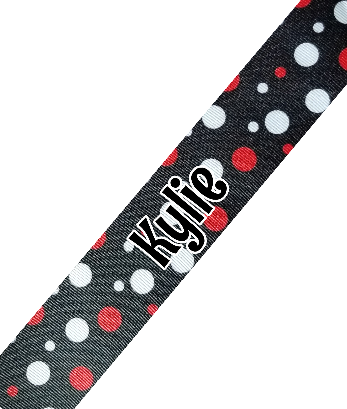 Black with Red White Dots Print