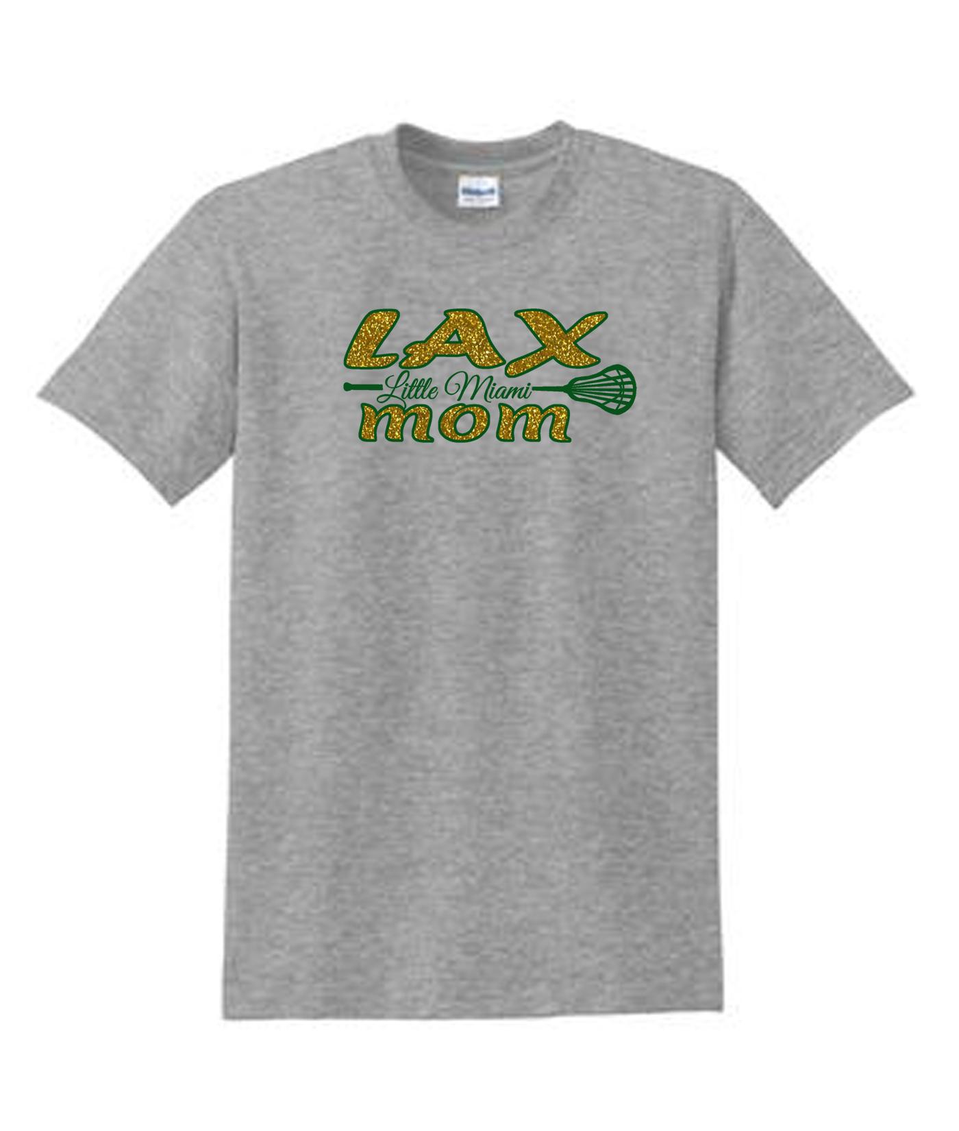 LAX Grey Tee LAX Mom Large Stick_Glitter