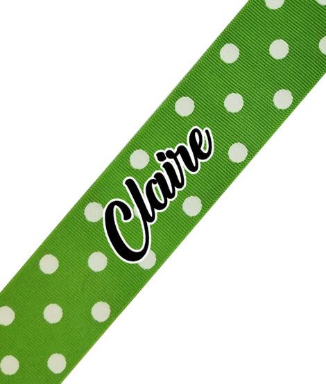 Lime Polka Dot Cursive