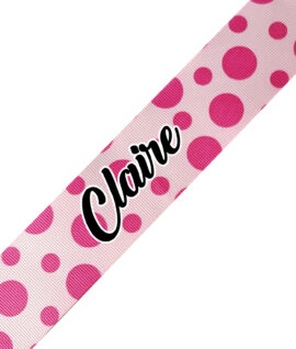 Pink with Multil Color Pink Dots Cursive