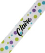 White with Green Blue Polka Dots Cursive