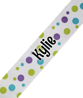 White with Green Blue Polka Dots Print