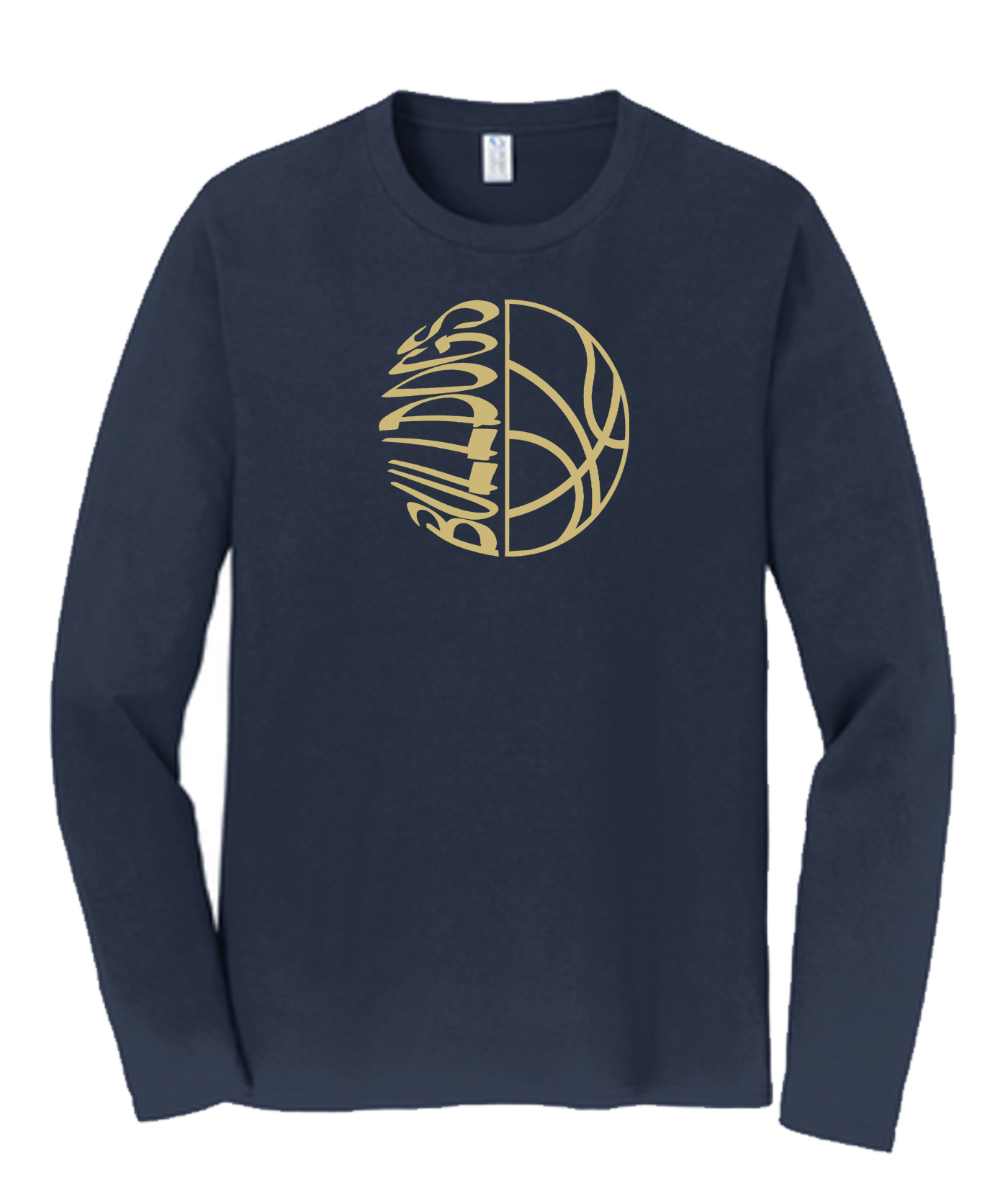 Sideways Bulldogs Basketball_Navy LS