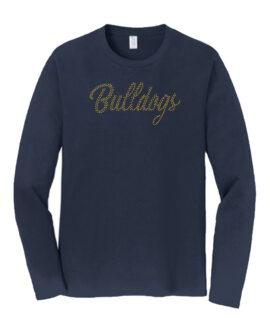 Rhinestone Bulldogs Long Sleeve Navy Tee