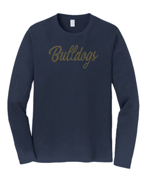 Rhinestone Bulldogs Long Sleeve Navy Tee