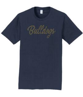 Rhinestone Bulldogs Short Sleeve Navy Tee