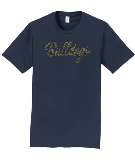 Rhinestone Bulldogs Short Sleeve Navy Tee