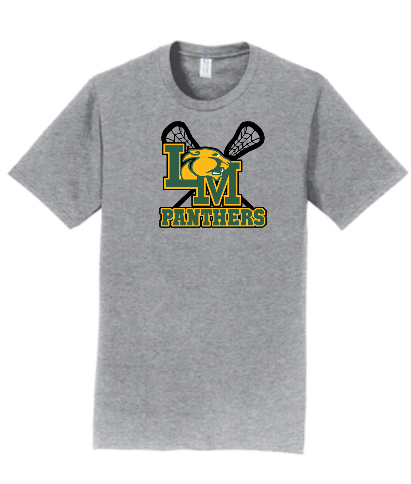 LM Lacrosse Official Logo with Sticks_Grey Tee