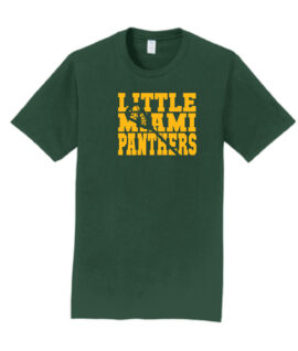 LM Lacrosse Word with Missing Stick_Green Tee